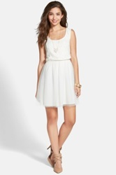 Frenchi Lace Bodice Skater Dress Juniors White
