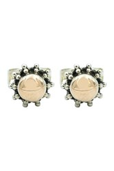Exex Design Jewelry Sterling Silver And 18K Yellow Gold Plated Saitama Stud Earrings Beige