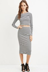 Forever 21 Striped Bodycon Midi Skirt Charcoal Heather Grey