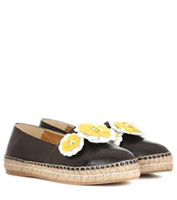 Prada Leather Espadrilles Black