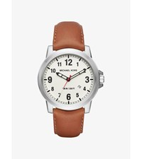 Paxton Silver Tone And Leather Watch