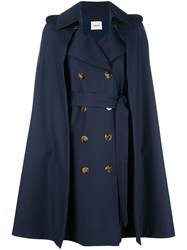 Khaite Cape Double Breasted Coat Blue