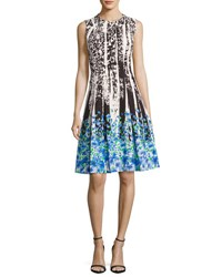 Carmen Marc Valvo Sleeveless Paisley And Floral Ponte Dress Multicolor