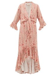 Adriana Degreas Aloe Print Tie Front Twill Dress Pink Print