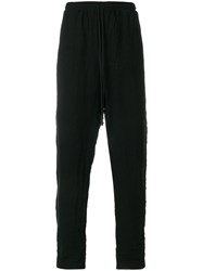 Lost And Found Rooms Drop Crotch Trousers Cotton Linen Flax Black