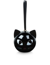 Lulu Guinness Black Kooky Cat Orb Clutch
