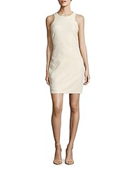 Belle By Badgley Mischka Vail Jewelneck Sheath Dress Ivory Gold