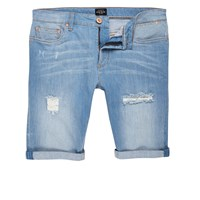River Island Mens Light Blue Wash Skinny Ripped Denim Shorts