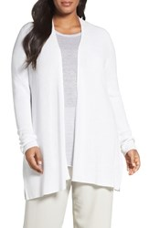 Eileen Fisher Plus Size Women's Sleek Ribbed Tencel Lyocell Cardigan White
