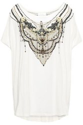 Camilla Woman Geisha Girl Oversized Crystal Embellished Printed Stretch Modal T Shirt White