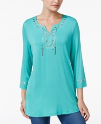 Jm Collection Lace Up Studded Tunic Only At Macy's Mermaid Green Combo