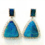 Irene Neuwirth One Of A Kind 18K White Gold Earrings Set With Boulder Opal 80.30Cts Rose Cut Diamonds 5.26Cts And Pave Diamonds 0.97Cts Blue