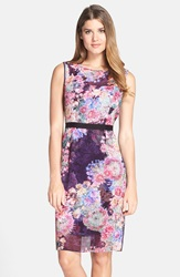 Adrianna Papell Print Illusion Yoke Chiffon Sheath Dress Regular And Petite Plum Multi