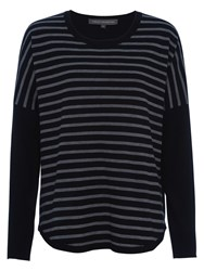 French Connection Stripe Knits Scoop Hem Jumper Black Grey Stripe
