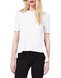 Miss Selfridge Hi Lo Short Sleeve Top White