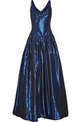 Marchesa Embellished Faille Gown Blue