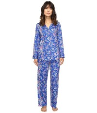 Lauren Ralph Lauren Sateen Notch Collar Pj Paisley Blue Women's Pajama Sets
