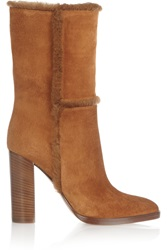 Gianvito Rossi Shearling Trimmed Suede Boots