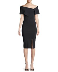 La Petite Robe Di Chiara Boni Egida Asymmetric Off The Shoulder Cocktail Dress Black