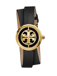 Tory Burch Reva Goldtone Stainless Steel And Leather Double Wrap Strap Watch Black Gold Black