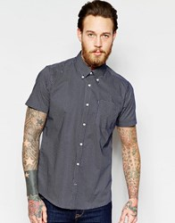 Barbour Shirt With Micro Print Tailored Slim Fit Short Sleeves Navy
