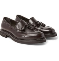 Brunello Cucinelli Leather Tasselled Loafers Dark Brown