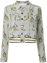 Giamba Tiger Print Denim Jacket White