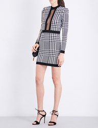 Balmain Houndstooth Round Neck Knitted Dress White Black