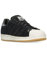 Adidas Men's Superstar Winter Suede Casual Sneakers From Finish Line Core Black Off White