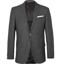 Hugo Boss Grey Hutsons Slim Fit Birdseye Wool Blazer Gray