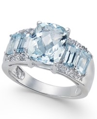 Macy's Aquamarine 3 3 4 Ct. T.W. And Diamond Accent Ring In 14K White Gold