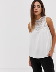 Ax Paris Top With Lace Detail Cream
