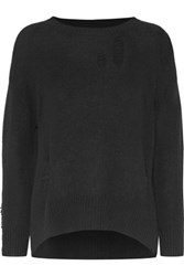 Enza Costa Distressed Wool And Cashmere Blend Sweater Black
