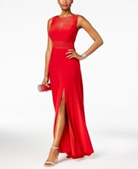 Nightway Sleeveless Illusion Mesh Fit And Flare Gown Red