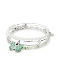 Alex And Ani Three Piece Swarovski Crystal Butterfly Bracelet Set Silver