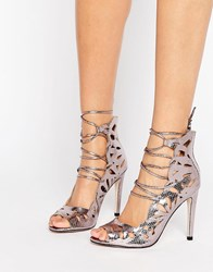 Little Mistress Cut Out Lace Up Peep Toe Heels. Pewter Silver
