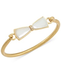 Carolee Gold Tone Rose Quartz Bow Bangle Bracelet Jade