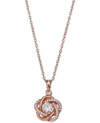 Giani Bernini Cubic Zirconia Love Knot Pendant Necklace In 18K Rose Gold Plated Sterling Silver Only At Macy's