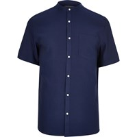 River Island Mens Blue Waffle Short Sleeve Grandad Shirt