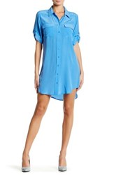 Equipment Short Sleeve Silk T Shirt Dress Blue