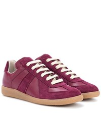 Maison Martin Margiela Replica Leather And Suede Sneakers Red