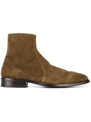 Balenciaga Pointed Ankle Boots Men Leather Suede 44 Brown