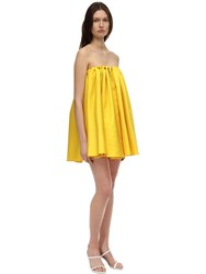 Sara Battaglia Strapless Duchesse Mini Dress Yellow