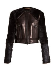 Summa Contrast Sleeve Leather And Shearling Jacket Black