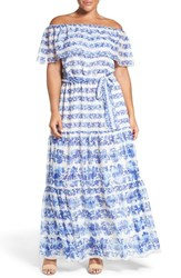 Eliza J Plus Size Women's Print Chiffon Ruffled Off The Shoulder Maxi Dress