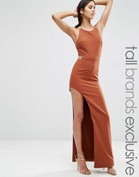 True Decadence Tall Split Side Maxi Dress With Hardware Detail Chocolate Brown