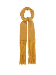 Missoni Fringed Metallic Rib Knitted Scarf Gold