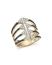 Bloomingdale's Black And White Diamond Micro Pave Statement Ring In 14K Yellow Gold White Black