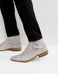 House Of Hounds Adrian Suede Buckle Boots In Gray Gray