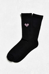 Urban Outfitters Embroidered Racquets Sport Sock Black
